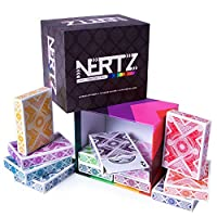 Nertz: The Fast Frenzied Fun Card Game - 12 Decks of Playing Cards in 12 Vibrant Colours, Bulk Set of Poker Wide-Size/Regular Index, Plastic-Coated Cards by Brybelly
