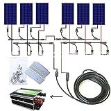 ECO-WORTHY 24v 600w ソーラーパネルキット: 100W ソーラーパネル本体*6個 + ソーラーケーブル + 30A チャージコントローラー + Y 型 MC4 コネクタ+ Z 取付金