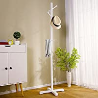 寝室服ラック、家庭用リビングルームラック、床コートラック、シンプルな木製ハンガー ( 色 : 白 )