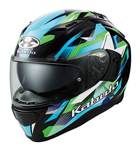 オージーケーカブト(OGK KABUTO)バイクヘルメット フルフェイス KAMUI3 STARS(スターズ) ブラックグリーン (サイズ:XL) 587390