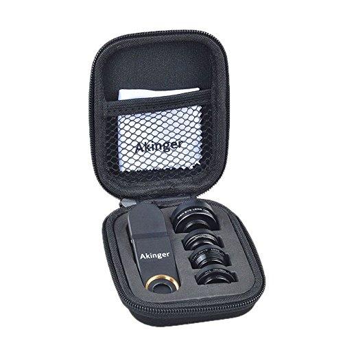 Akinger 新作 スマホカメラレンズキット 5in1 五つの機能 198度魚眼レンズ 広角レンズ マクロレンズ ズームレンズ 偏光レンズ アップルの携帯電話やサムスンの携帯電話、その他のスマートフォンに対応可能
