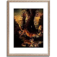 Oudry, Jean Baptiste,1696-1755「Fuchse mit ihrer Beute.」インテリア アート 絵画 プリント 額装作品 フレーム:装飾(銀) サイズ:M (306mm X 397mm)
