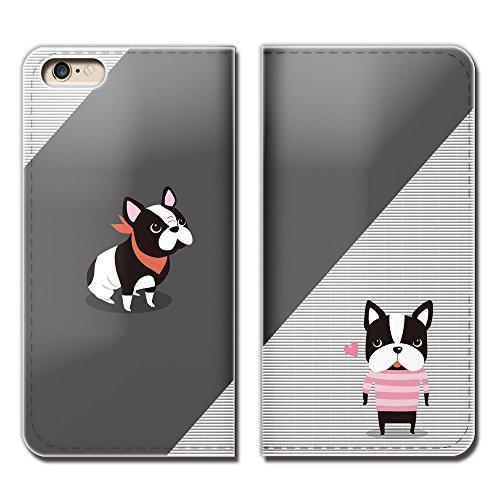 Tiara iPhone6s (4.7) iPhone6s スマホケース 手帳型 ベルトなし ガーリー 犬 ボストンテリア 手帳ケース カバー バンドなし マグネット式 バンドレス [EB25301_05]