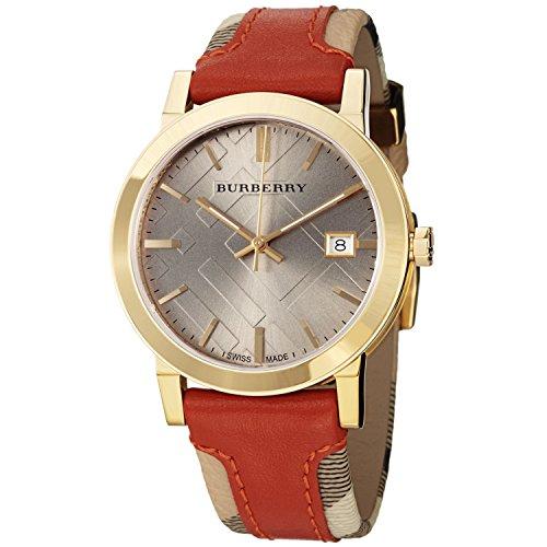 Burberryレディースbu9016大きいチェックレザーキャンバスストラップ時計