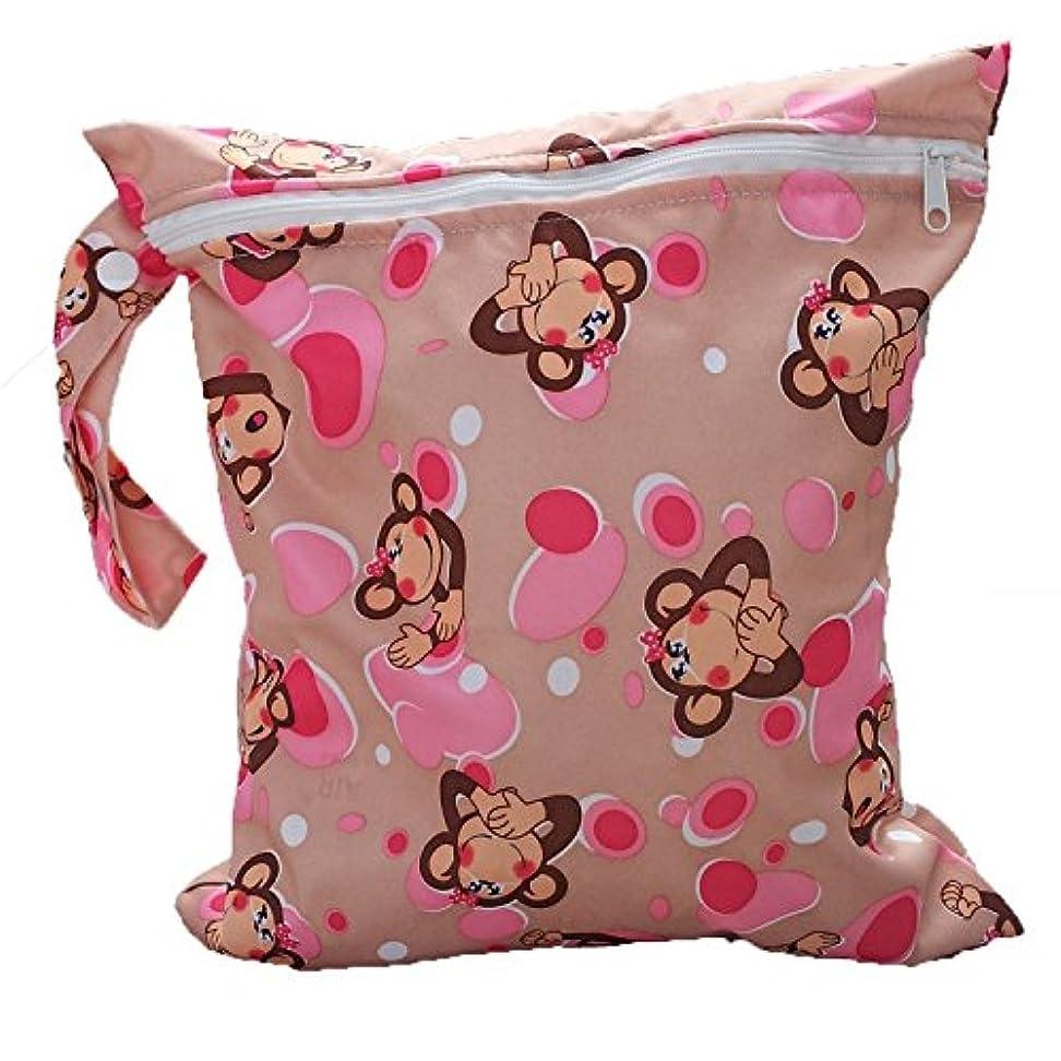 おむつバッグ,SODIAL(R) ベビー幼児防水ジッパー再利用可能な布おむつバッグ 猿のパターン