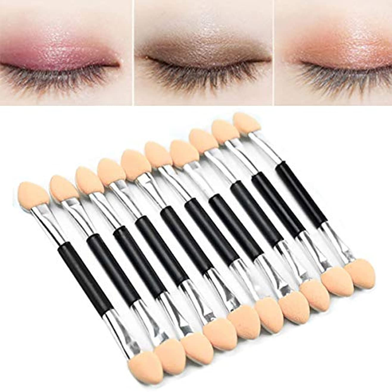 中国アート美しいCikoume アイシャドウブラシ 10本ダブル 化粧ツール 人気 アイシャドウスポンジ シリコンチップ 上質なメイクブラシで魅力的な目元を 化粧筆 ダブル メイクブラシ