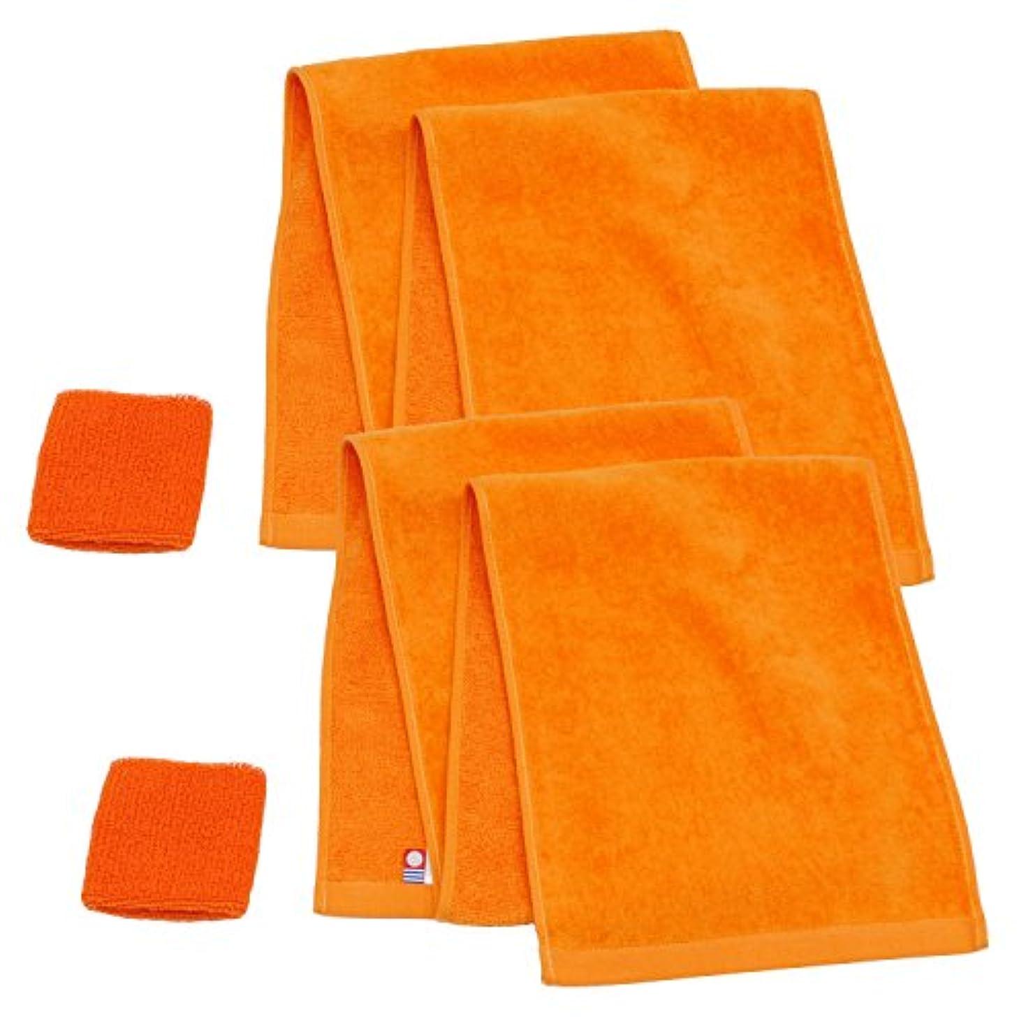 長くするインシュレータ誓う今治産マフラータオル+リストバンド オレンジ2枚セット -