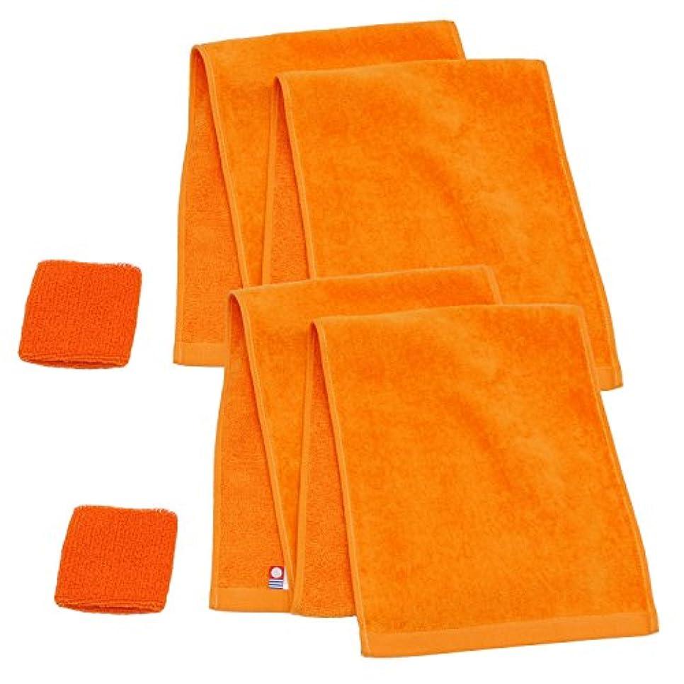 資本主義感心する湿度今治産マフラータオル+リストバンド オレンジ2枚セット -