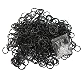 600個 大容量 輪ゴム ブラックラバーバンド DIY織機 ブレスレットアンクレット 24クリップ付き
