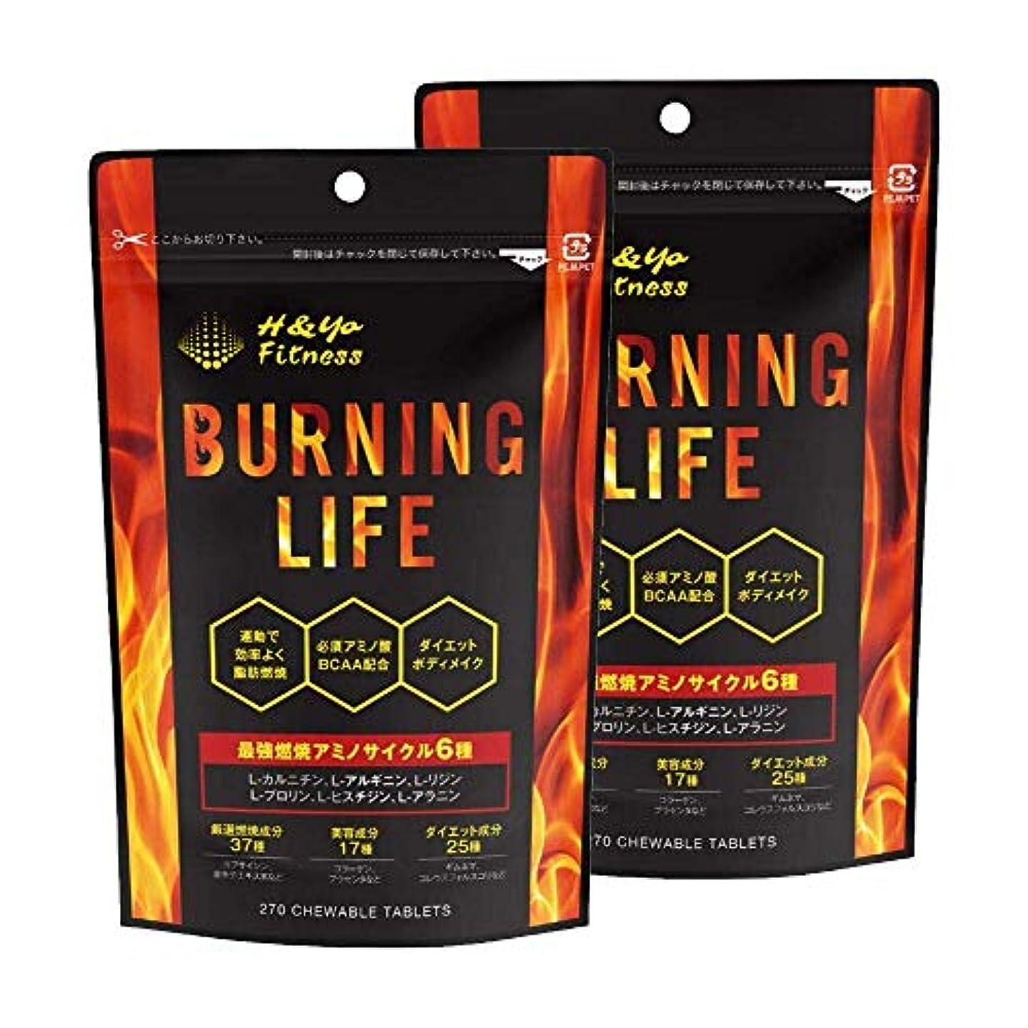 交差点慎重彼らBURNING LIFE 燃焼系ダイエットサプリ L-カルニチン 必須アミノ酸BCAA配合 運動時の燃焼を強力サポート 270粒 (2か月分)