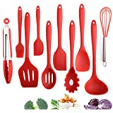 10 Pcs Kitchen Utensil Set Silicone Baking Cooking&Baking Tools Non-Stick (Red)