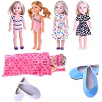 MSDS Doll Clothes for American Girl Dolls Swimsuit&1pc Sleeping bag&2 pc shoes7set for 14.5 inch Wellie Wisher Dolls