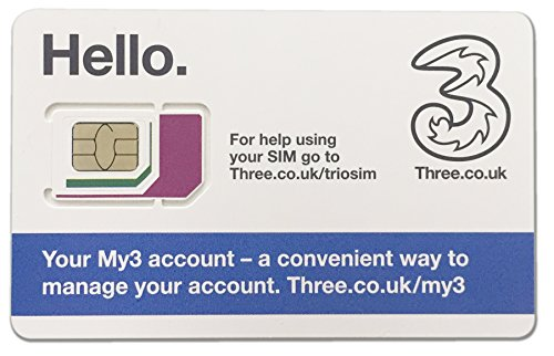国内送料無料Three UK プリペイド シムカード ヨーロッパ用 9GB (ヨーロッパ、アジア、アメリカ使用可能)イギリス国内12GB/30日間・ 最大SMS3000通/3000分通話付き 追加チャージ対応可能 SIMを挿してアクティベーション