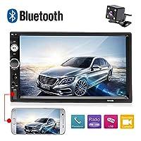 AMprime 7010B カーステレオ Bluetooth 1080P 7インチ タッチスクリーン 2 DIN ラジオ MP5 プレーヤー ミラーリンク Android スマートフォン FM SD/USB/AUX入力+バックアップカメラ付き