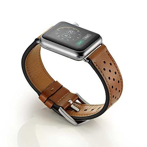 EloBeth Apple Watch バンド 本革ベルトレザー スマートウォッチ for Apple Watch 38mm用 42mm用 アップルウォッチ用 交換バンド Apple Watch Series 4 Single Tour 時計バンド 腕時計ストラップ(42mm,ブラウン1)