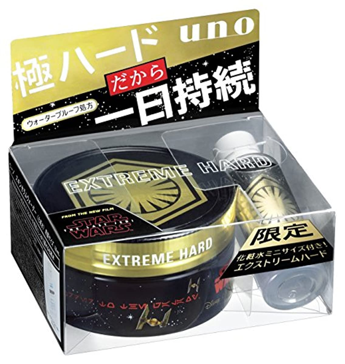 西ポータブル特定のuno(ウーノ) ウーノ エクストリームハード ワックス 80g スキンセラムウォーターミニボトル付(スターウォーズEp8)