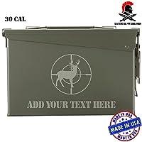 鹿onスコープカスタムレーザー刻印PersonalizedメタルAmmo Can防水ストレージボックスの狩猟釣りとAmmunition グリーン