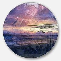 DesignArt mt13578 C23 Sunset Overブルー海水彩風景円壁アートディスク、23
