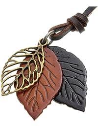 ネックレス ロング 革紐 メタル レザー 木の葉 3枚 メンズ レディース ブラウン Napist(ナピスト) NPN078