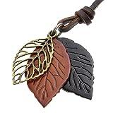 [ナピスト]Napist 木の葉 3枚 革 ひも ロング ネックレス レディース