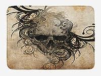 タトゥーバスマット、プリントの周りのデザインのような部族の花の頭蓋骨の手作りイメージ、ノンスリップバッキングの豪華なバスルームの装飾マット、、ブラックブラウン 80x50cm