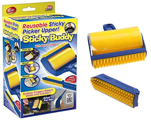 Sticky Buddy Reusable Cat Dog Hair Lint Remover Roller | Pet Fur Shedding Brush | Cleans Clothing, Furniture, Couch, Carpet | 2 in 1 Animal Hair Picker Cleaner