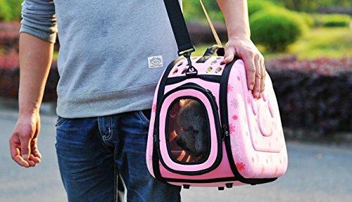 ペット 用 折り 畳み キャリー バッグ ショルダー ベルト 付 ピンク
