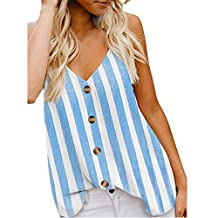 Sunhusing Ladies Sexy V-Neck Stripe Print Sleeveless Camisole Vest Loose Casual Buttoned Tank Tops