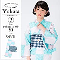 [KIMONOMACHI] 浴衣セット「ピンク×水色 スクエアに花」S,F(フリー),TL 女性浴衣セット