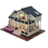 DIY木製人形家ミニチュアキットby Longyuan Teck Wood Houseおもちゃ& LEDライトwithすべて家具車