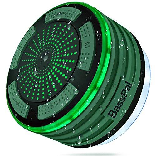 BassPal Bluetoothスピーカー ワイヤレス風呂スピーカー 吸盤タイプ IPX7防水 アウトドア用(ダークグリーン)