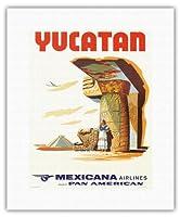 ユカタンメキシコ - マヤ遺跡 - メキシカーナ航空CMA - パンアメリカン航空のアフィリエイト - ビンテージな航空会社のポスター c.1960s - キャンバスアート - 28cm x 36cm キャンバスアート(ロール)