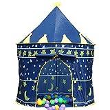 子供用テント 屋内でも 屋外でも こども用 可愛い お城テント 遊び道具 おもちゃ 男の子 女の子 キッズテント 収納バッグ付き 知育玩具 誕生日プレゼント クリスマス ギフト (ブルー)