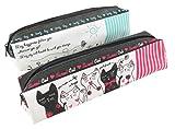 猫Sunny Day鉛筆ペンコスメティックケースポーチバッグ71/ 4x 2ピンクTealホワイト(セットof 2)