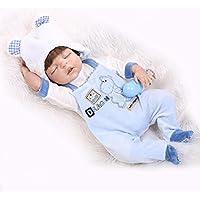 NPKDOLL リボーンベビードールハードシミュレーションシリコーンビニール22インチの55センチメートル磁気口リアルな目を閉じたとかわいい防水子供のおもちゃ青いドレス Reborn Baby Doll A1JP