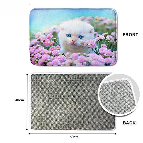 [FOR U DESIGNS]肌触りが良いフランネルマット ドアマット バスマット 滑り止め 約59CM*40CM 花が好き猫ちゃん
