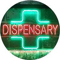 Dispensary Cross Shop Wall Décor Display Dual LED看板 ネオンプレート サイン 標識 Green & Red 400 x 300 mm st6s43-i3205-gr