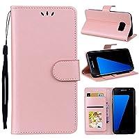 Samsung Galaxy S7 Edge 財布 シェル, Samsung Galaxy S7 Edge レザー シェル, Mrstar プレミアム PU レザー 携帯電話ケース フォリオ 立つ バンパーバック カバー の Samsung Galaxy S7 Edge - Pink