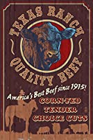 Texas – Cattle Ranch Vintage Sign 16 x 24 Signed Art Print LANT-46565-709