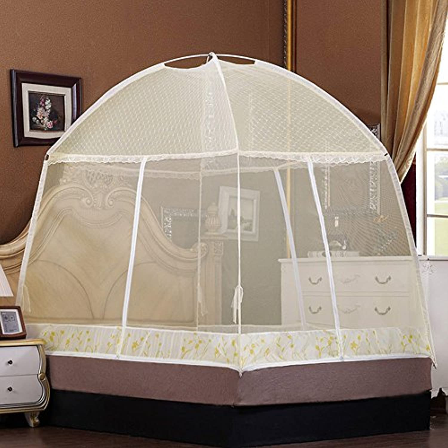 ruihome 3-doors free-standing Mosquito Netテント折りたたみ式ベッドキャノピー昆虫ネッティングforホーム旅行 70.9x78.7x63