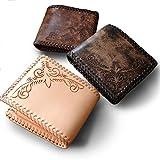 二つ折り財布 2つ折り財布 革財布 レザーウォレット 皮財布 本革 レザー 二つ折り 2つ折り カービング swt-cv005 (ナチュラル)