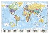 ポスター 世界地図+アルミフレーム(ホワイト) セット GN-0214W