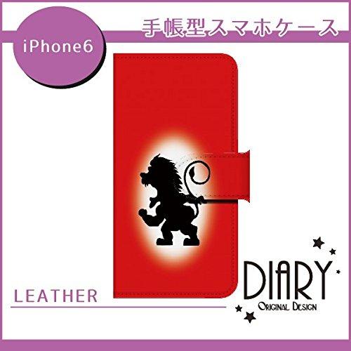 iPhone6(4.7インチ) シルエットライオン(赤) 手帳型スマホ革レザーケース…カメラ穴 スタンド カードスロット付きql622-i2280-lec_am