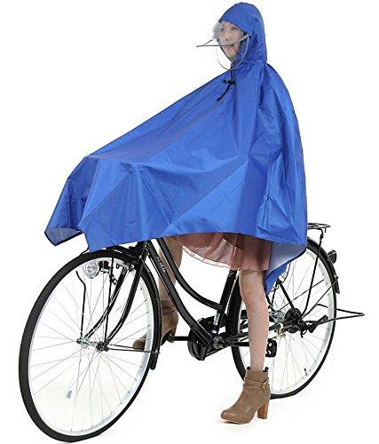 超 軽量 185g 自転車用 レインポンチョ 防水 無臭 男女兼用 フリーサイズ HIIRAGI [ヒイラギ] (ブルー)
