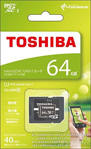 TOSHIBA microSDXCカード 64GB Class10 UHS-I対応 (最大転送速度40MB/s) 5年保証 (国内正規品) MSDAR40N64G