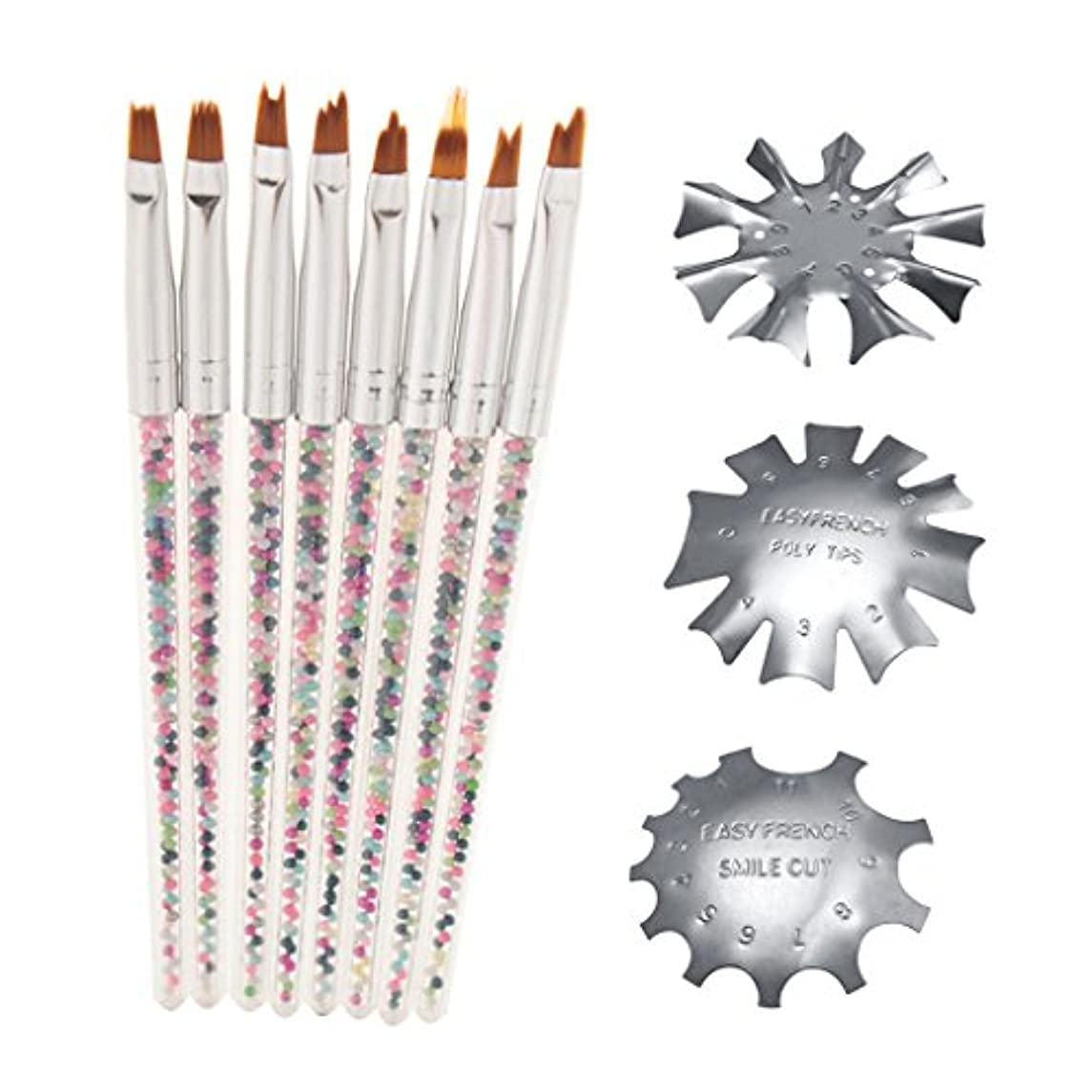 裁量時々暴君Perfeclan ネイルブラシ マニキュアブラシ ネイルガイド ペン ステンレス鋼 ネイルアート アクセサリー