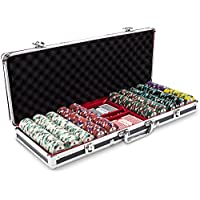 500 Ct Showdown Poker ChipセットinブラックアルミニウムCarryケース、13.5-gram HeavyweightクレイComposite by Claysmithゲーム