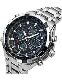 [バロンズ] 腕時計 メンズ クロノグラフ 日本製クォーツ 防水 夜光 アラーム アナデジ表示 (01-ブラック)