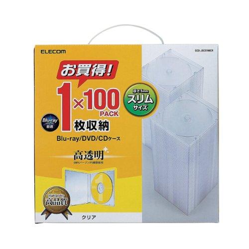 エレコム DVD CDケース プラケース スリム 1枚収納 100枚パック クリア CCD-JSCS100CR