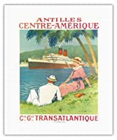 オランダ領アンティル諸島中央アメリカコンパニー・ジェネラルトランスアトランティック(CIE GLE)フレンチライン - SSフランドルクルーズ船 - ビンテージな遠洋定期船のポスター によって作成された サンディ・フック c.1970s - キャンバスアート - 41cm x 51cm キャンバスアート(ロール)